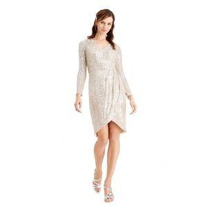 Calvin Klein Sequin Faux Wrap Dress